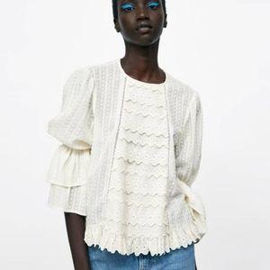 100% cotton Zara Woman eyelet blouse size L